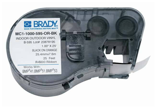 Brady™ Label Maker Vinyl Cartridges (B-595) for BMP51, BMP53, BMP41 Printers Black on orange Brady™ Label Maker Vinyl Cartridges (B-595) for BMP51, BMP53, BMP41 Printers