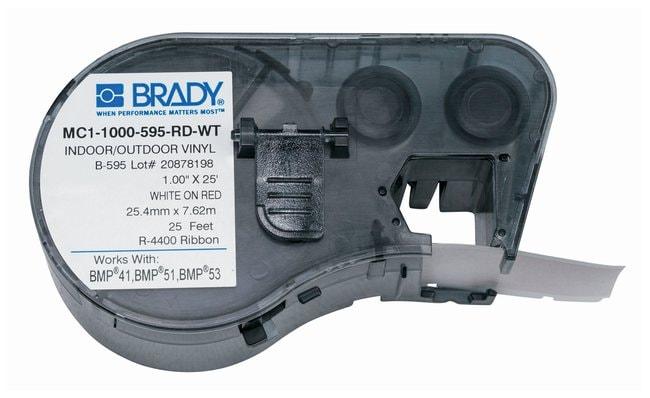 Brady™Label Maker Vinyl Cartridges (B-595) for BMP51, BMP53, BMP41 Printers White on red Brady™Label Maker Vinyl Cartridges (B-595) for BMP51, BMP53, BMP41 Printers