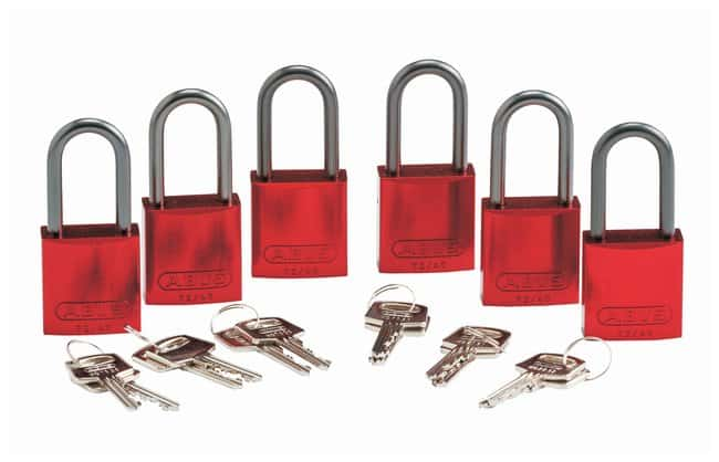 BradyKeyed Different Aluminum Padlocks with 1.5 in Shackle, Red:Facility