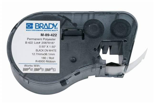 Brady™ BMP51/BMP53/BMP41 Label Maker Cartridge: B-422 Polyester Schwarz auf weiß; B x H: 12.7 x 38.1 mm (0.5 x 1.5 Zoll); 180/Kassette Brady™ BMP51/BMP53/BMP41 Label Maker Cartridge: B-422 Polyester