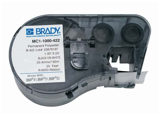 Brady™ BMP51/BMP53/BMP41 Label Maker Cartridge: B-422 Polyester Black on white; W x H: 25.4mm x 7.6m (1 in. x 25 ft.); 1roll/cartridge Brady™ BMP51/BMP53/BMP41 Label Maker Cartridge: B-422 Polyester