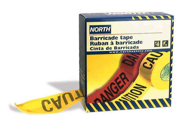 Honeywell Barricade Tape Repeating Message: CAUTION:Gloves, Glasses and
