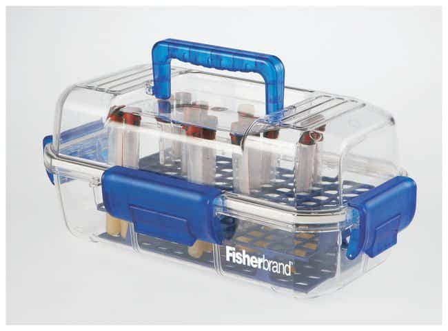 Fisherbrand Sample or Specimen Transport Container, Clear/Blue  Waterproof