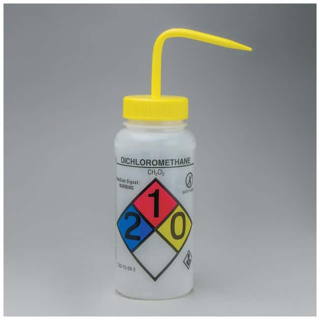 Bel-Art™ SP Scienceware™ Right-to-Know, Safety-Vented Wash Bottles with GHS Labeling Label: Dichloromethane; 500mL (16 oz.); Yellow cap Bel-Art™ SP Scienceware™ Right-to-Know, Safety-Vented Wash Bottles with GHS Labeling