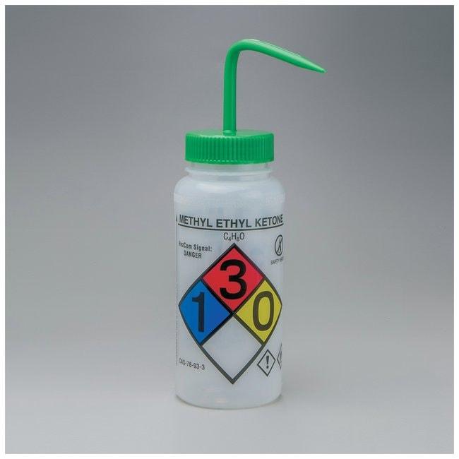 Bel-Art™SP Scienceware™ Right-to-Know, Safety-Vented Wash Bottles with GHS Labeling Label: Methyl Ethyl Ketone (MEK); 500mL (16 oz.); Green cap Bel-Art™SP Scienceware™ Right-to-Know, Safety-Vented Wash Bottles with GHS Labeling