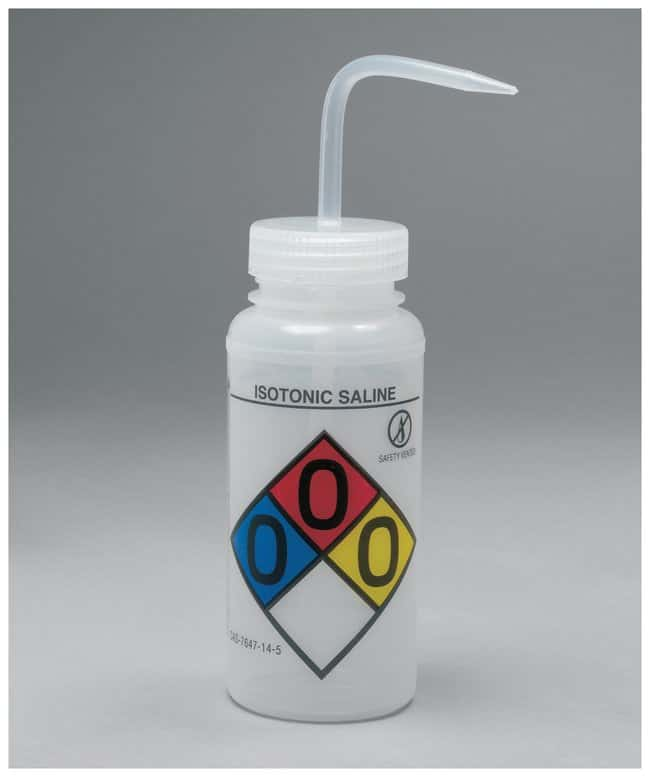 Bel-Art™ SP Scienceware™ Right-to-Know, Safety-Vented Wash Bottles with GHS Labeling Label: Isotonic Saline; 500mL (16 oz.); Natural cap Bel-Art™ SP Scienceware™ Right-to-Know, Safety-Vented Wash Bottles with GHS Labeling