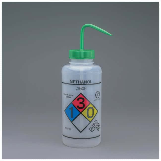 Bel-Art™SP Scienceware™ Right-to-Know, Safety-Vented Wash Bottles with GHS Labeling Label: Methanol;1000mL (32 oz.); Green cap Bel-Art™SP Scienceware™ Right-to-Know, Safety-Vented Wash Bottles with GHS Labeling