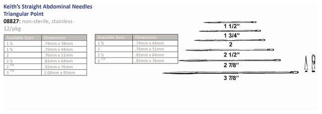 Cincinnati SurgicalKeiths Straight Abdominal Triangular Point Sterile Needles:Dispensers:General