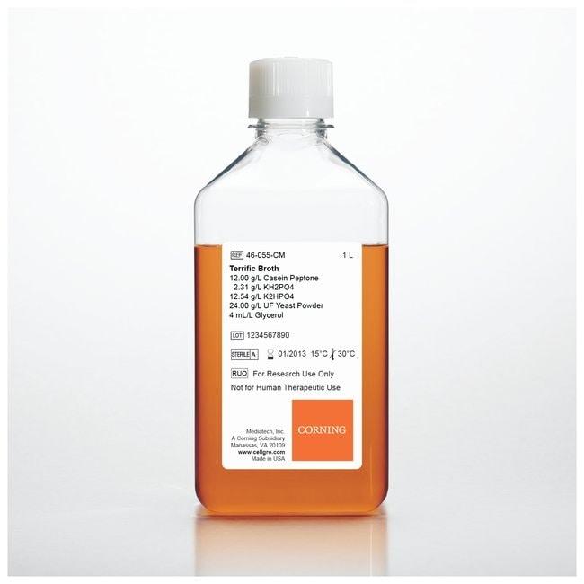 Corning™Milieux de culture microbiologiques Bouillon Terrific; Vol.: 6 x 1L Corning™Milieux de culture microbiologiques