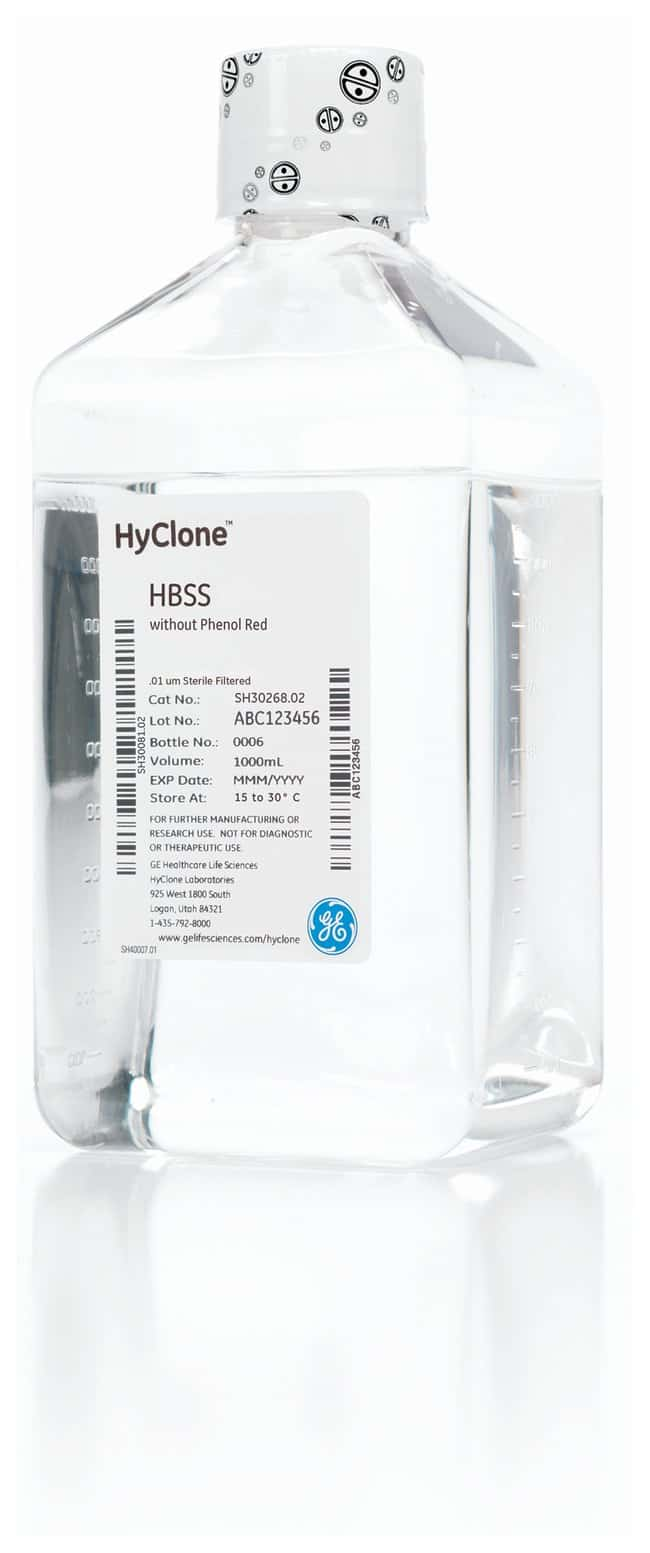 Cytiva (Formerly GE Healthcare Life Sciences) HyClone™ Hank's 1X Balanced Salt Solutions Liquid; Without Calcium, Magnesium/With Phenol Red; 1000mL Products
