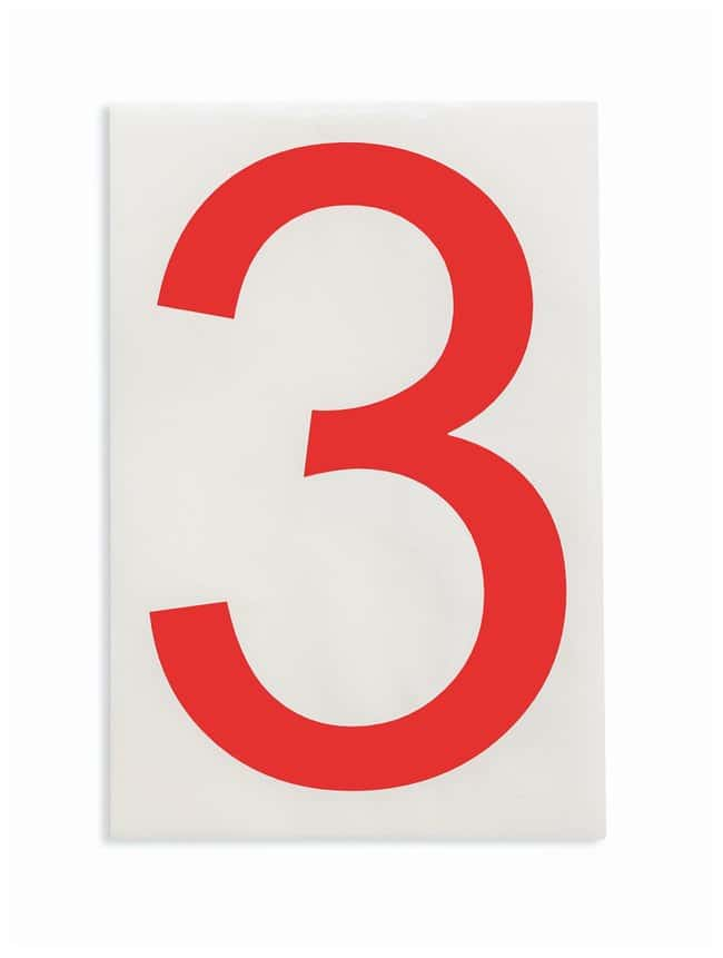 Brady ToughStripe Die-Cut Floor Marking Number 3 Color: Red:Racks, Boxes,