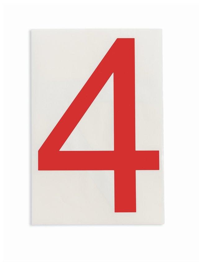 Brady ToughStripe Die-Cut Floor Marking Number 4 Color: Red:Racks, Boxes,