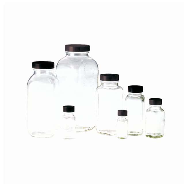 Fisherbrand Clear French Square Bottles With Black