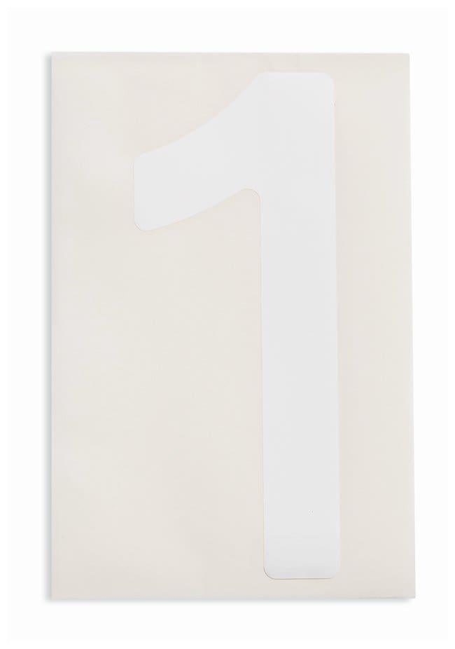 Brady ToughStripe Die-Cut Floor Marking Number 1 Color: White:Racks, Boxes,