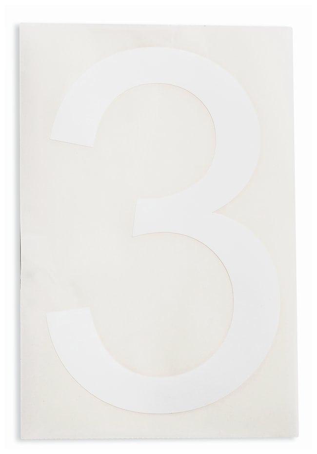 Brady ToughStripe Die-Cut Floor Marking Number 3 Color: White:Racks, Boxes,