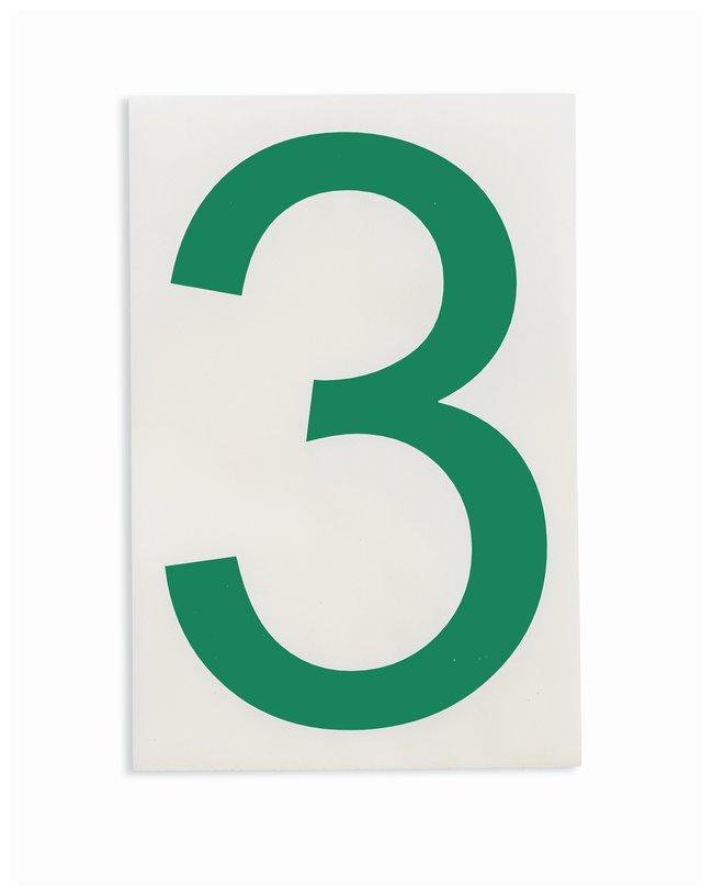 Brady ToughStripe Die-Cut Floor Marking Number 3 Color: Green:Racks, Boxes,