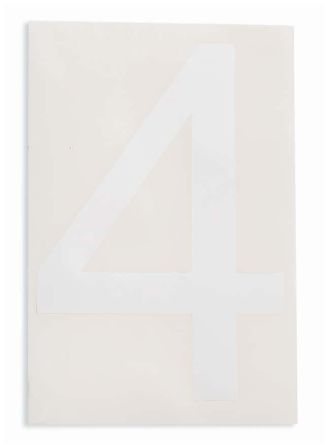 Brady ToughStripe Die-Cut Floor Marking Number 4 Color: White:Racks, Boxes,