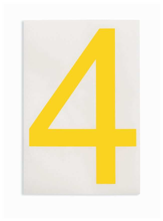 Brady ToughStripe Die-Cut Floor Marking Number 4 Color: Yellow:Racks, Boxes,