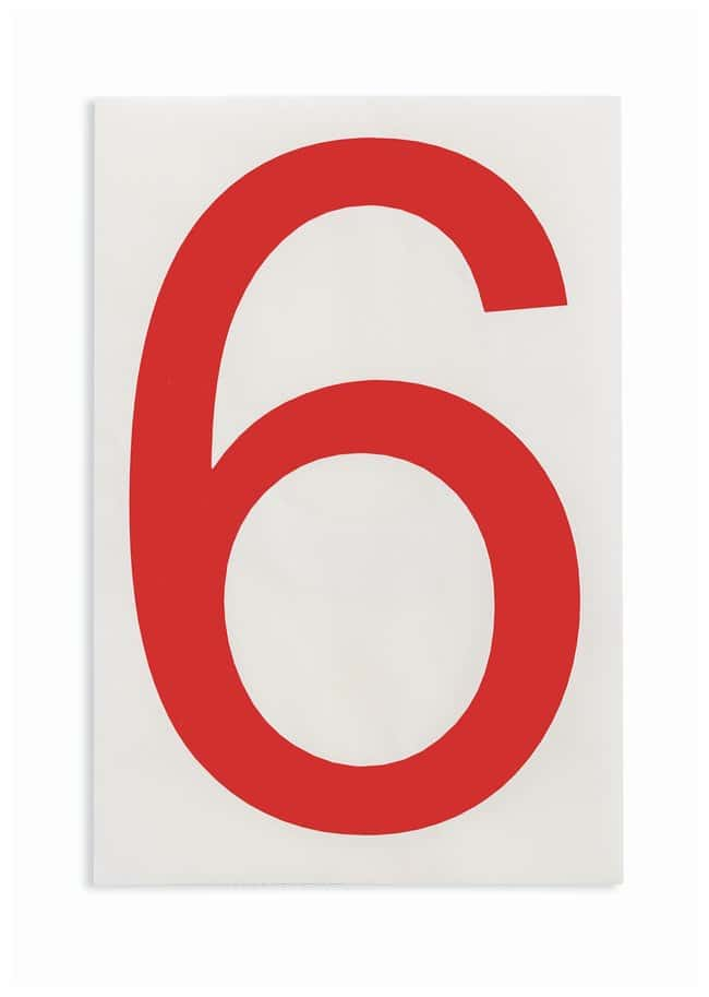 Brady ToughStripe Die-Cut Floor Marking Number 6 Color: Red:Racks, Boxes,