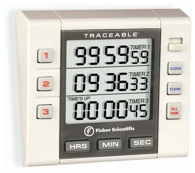 Fisherbrand™Traceable™ Digital Three-Channel Alarm Timer with Triple-Line LCD Timing range: three channel, 99 hr., 59 min., 59 sec. to 1 sec Stopwatches