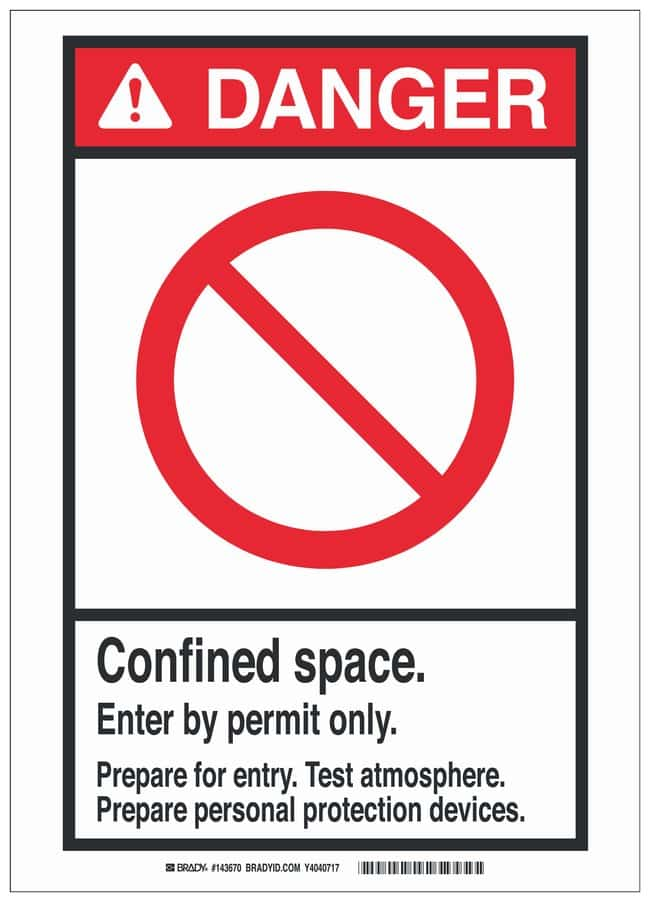 Brady Polyester ANSI Sign: CONFINED SPACE. ENTER BY PERMIT ONLY. PREPARE