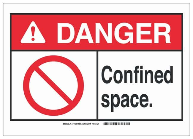 Brady ANSI Sign: CONFINED SPACE Sign; Corner holes; Aluminum; 10 in. x