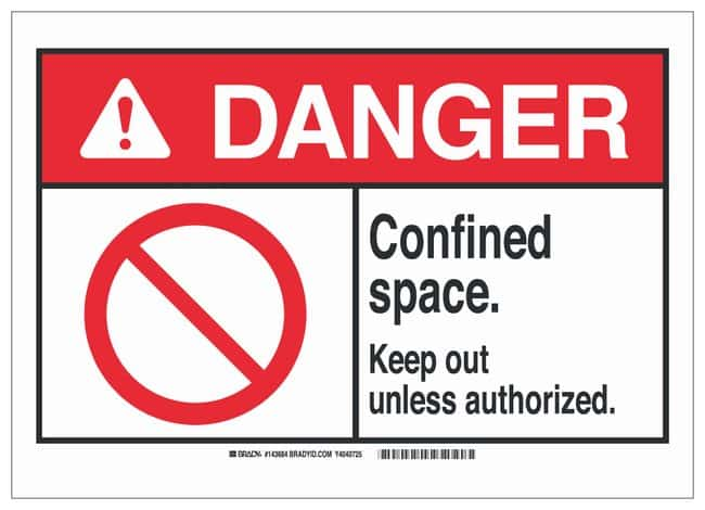 Brady ANSI Sign: CONFINED SPACE KEEP OUT UNLESS AUTHORIZED:Gloves, Glasses