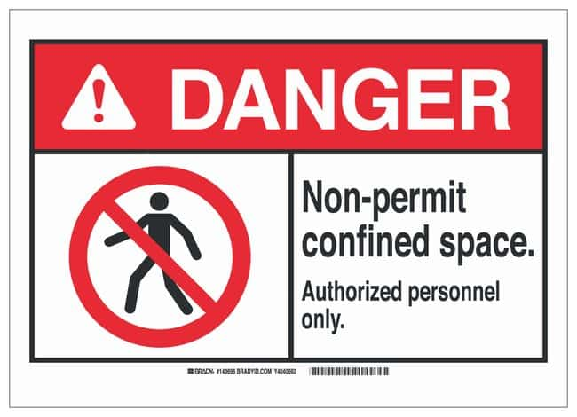 Brady ANSI Sign: NON-PERMIT CONFINED SPACE. AUTHORIZED PERSONNEL ONLY.