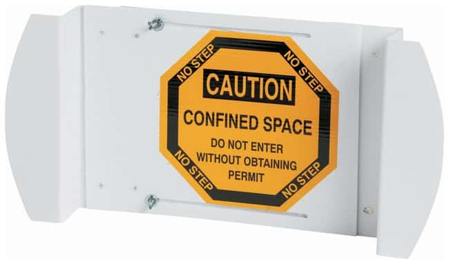 Brady Manhole Cover: CONFINED SPACE ENTER BY PERMIT ONLY Sign; Self-adhesive;