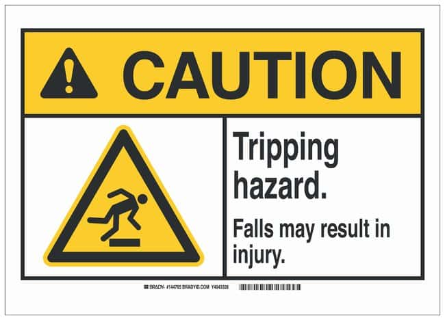Brady ANSI Sign: TRIPPING HAZARD. FALLS MAY RESULT IN INJURY.:Gloves, Glasses
