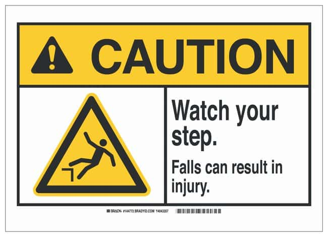 Brady ANSI Sign: WATCH YOUR STEP. FALLS CAN RESULT IN INJURY. Sign; Corner