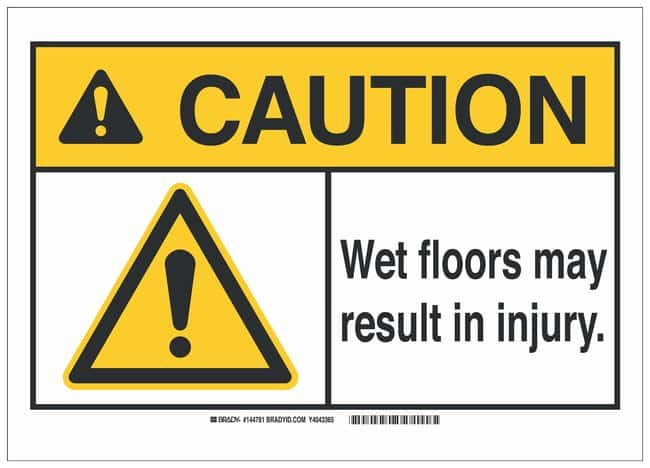 Brady Polyester ANSI Sign: WET FLOORS MAY RESULT IN INJURY.:Gloves, Glasses