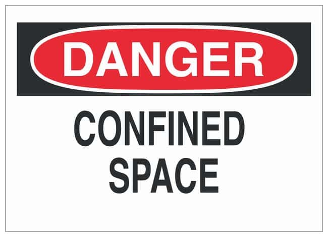 Brady Sign: CONFINED SPACE Sign; Corner holes; Fiberglass; 14 in. x 10