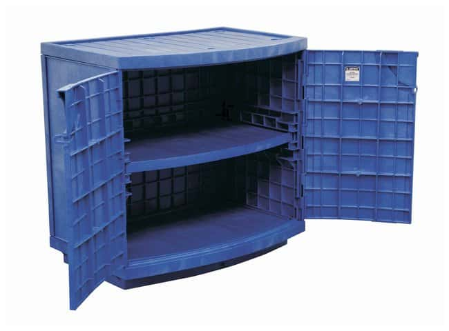 Justrite™ Polyethylene Corrosives/Acid Cabinet Exterior: 36W x 35H x 25D Interior: 31.25W x 28H x 18D; Adjustable shelf; Holds up to 36, 2.5L (90L) bottles Acids and Corrosives Safety Storage Cabinets