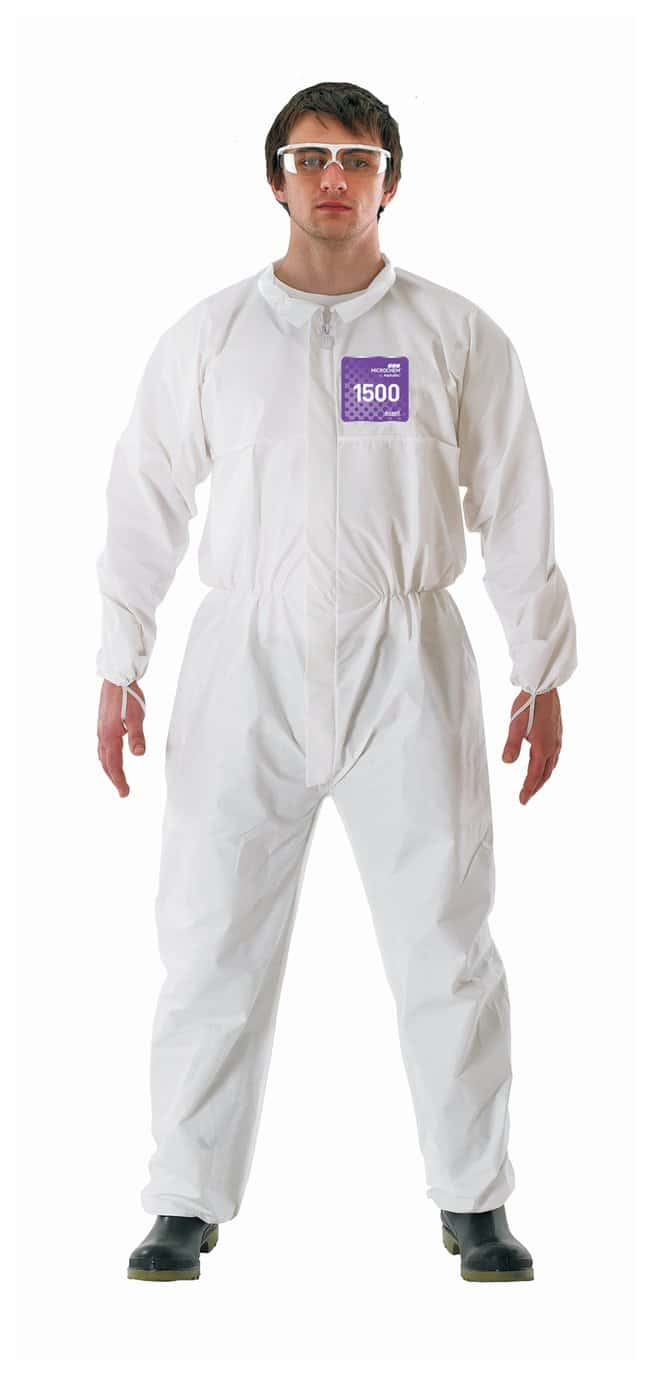 Ansell Alphatec MICROCHEM 68-1500 White Coveralls with Collar:Gloves, Glasses