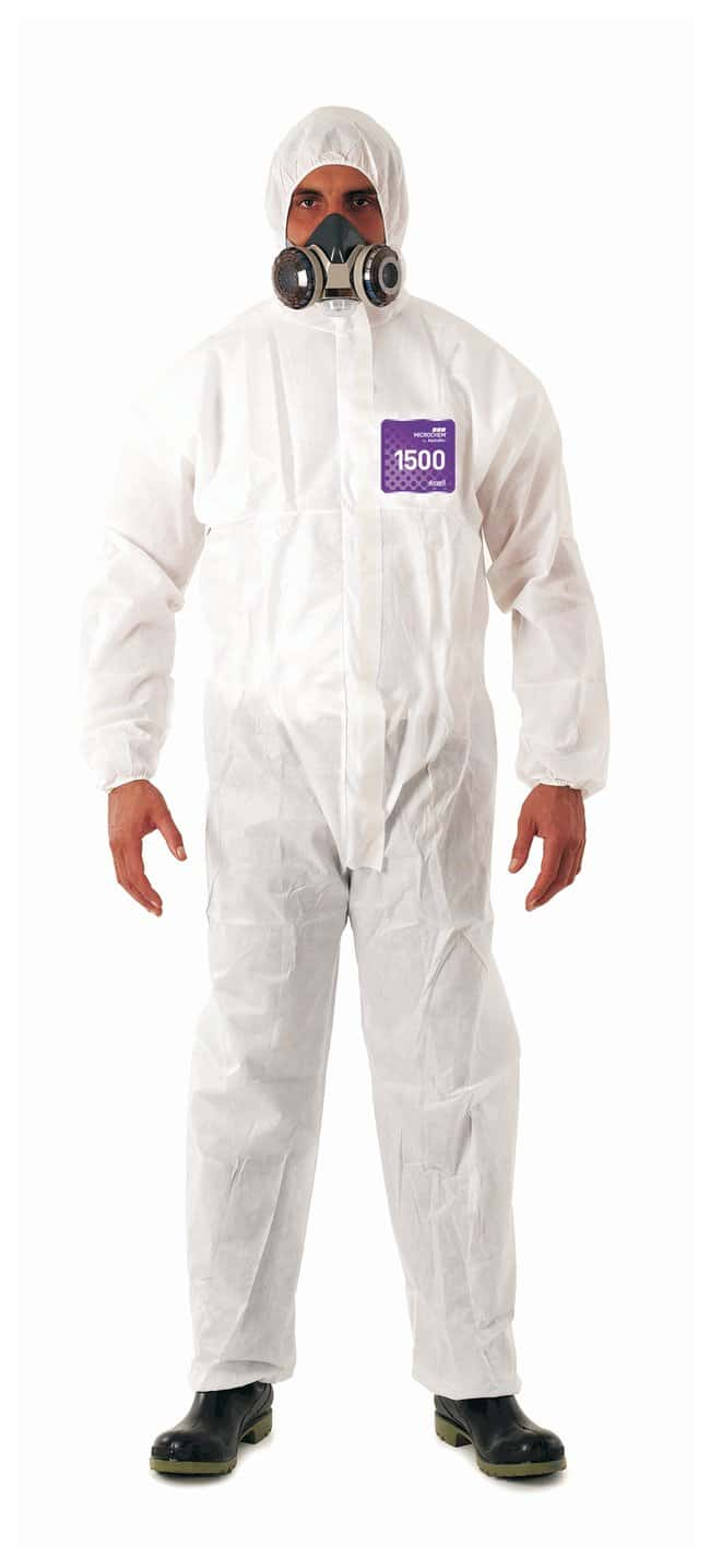 Ansell Alphatec MICROCHEM 68-1500 White Coveralls with Hood:Gloves, Glasses