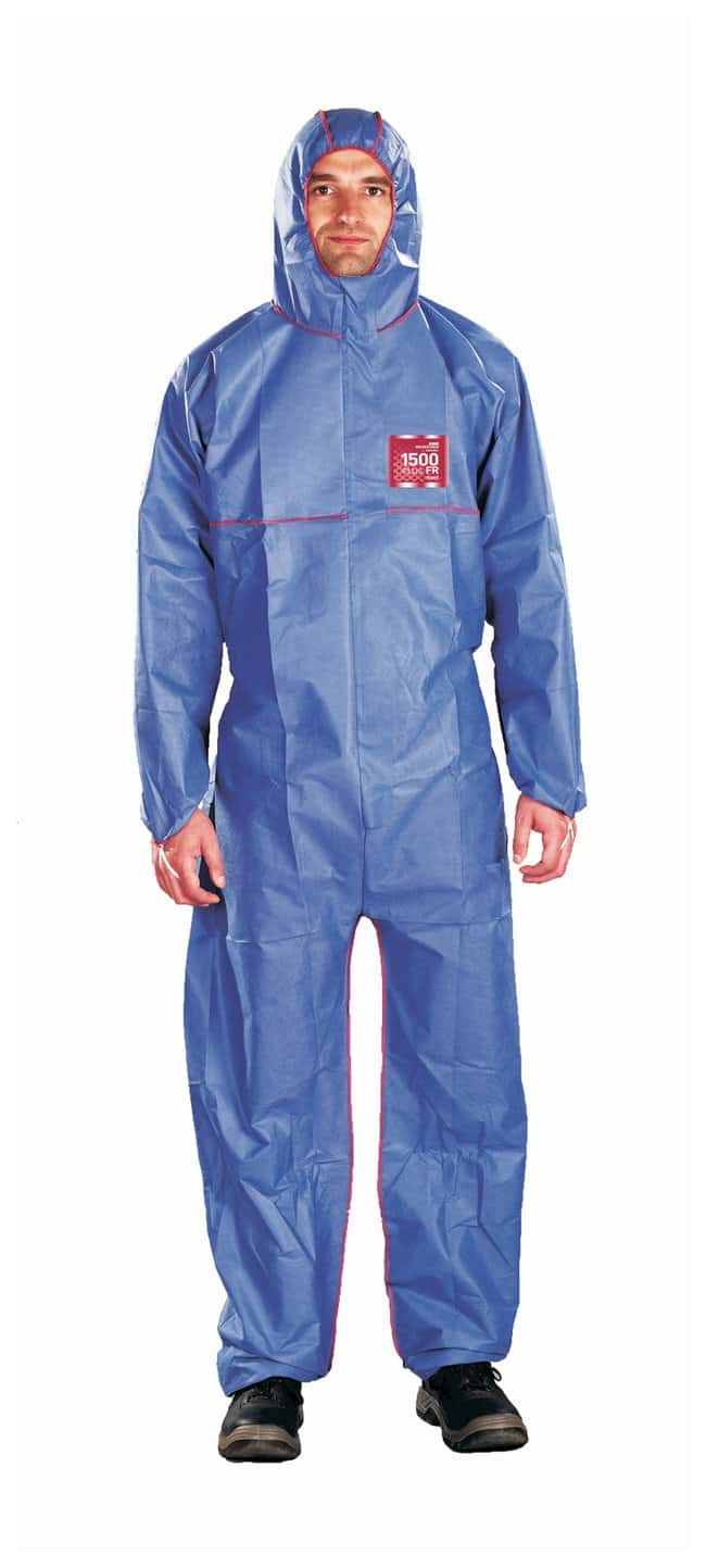 Ansell Alphatec MICROCHEM 68-1500 PLUSFR Coveralls with Hood:Gloves, Glasses