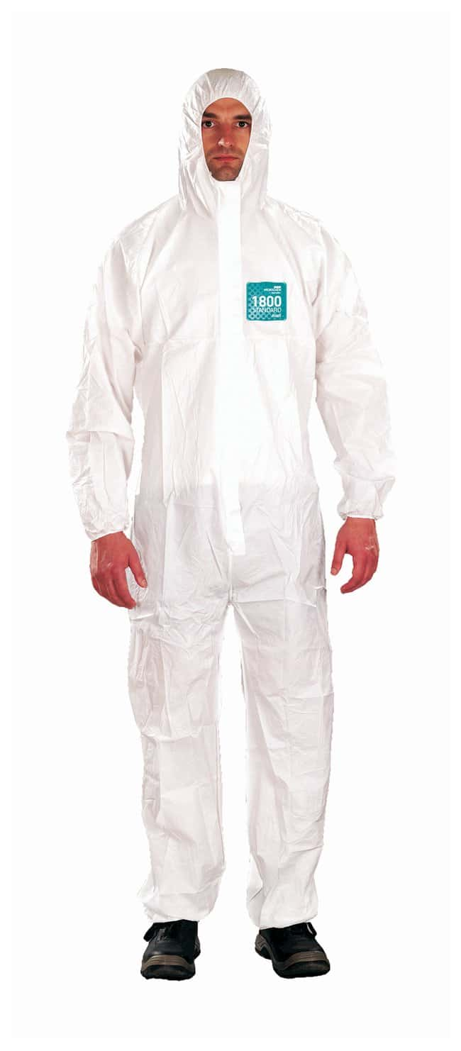 Ansell Alphatec MICROCHEM 68-1800 White Coveralls with Hood:Gloves, Glasses