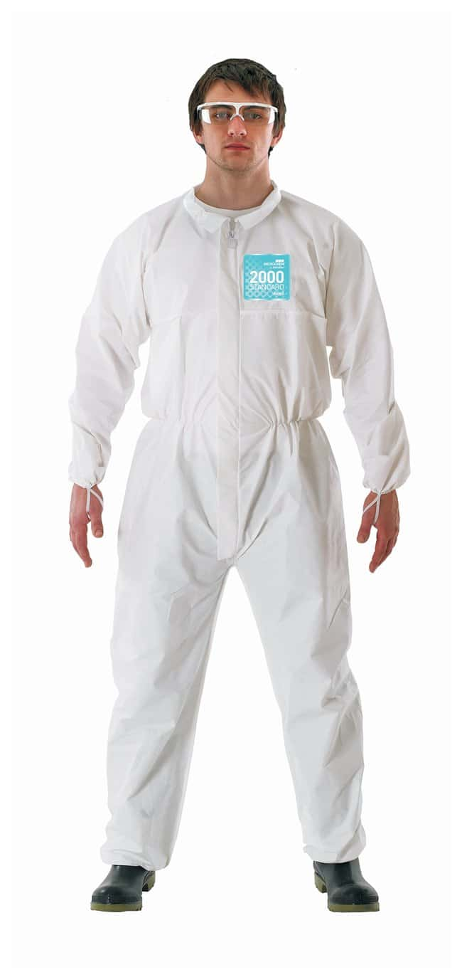 Ansell Alphatec MICROCHEM 68-2000 White Coveralls with Collar:Gloves, Glasses