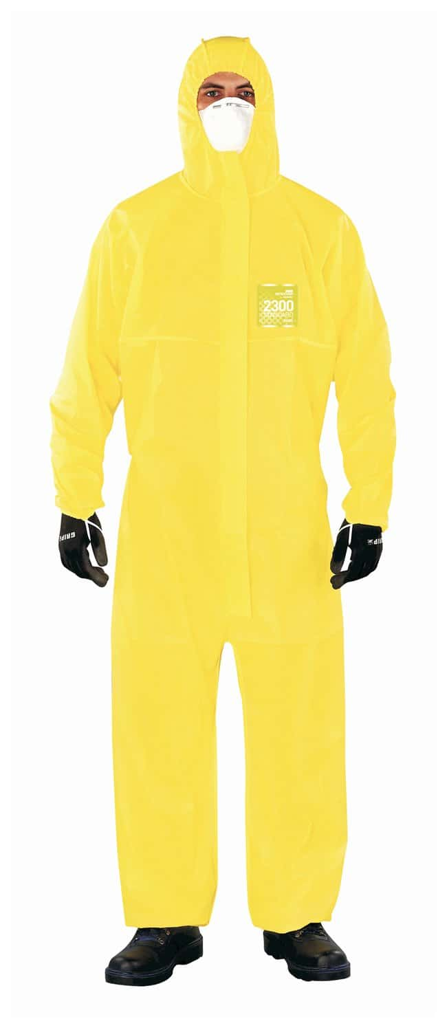 Ansell Alphatec MICROCHEM 68-2300 Yellow Coveralls with Hood and Socks