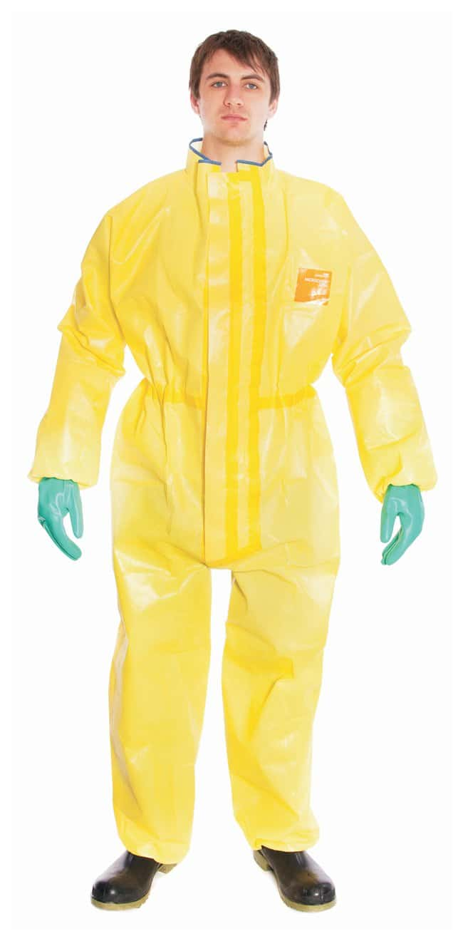 Ansell Alphatec MICROCHEM 68-3000 Yellow Coveralls with Hood Size: 3XL:Gloves,