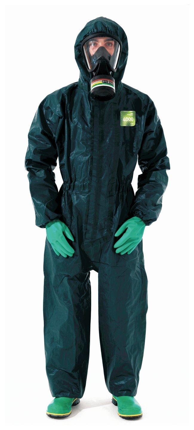 Ansell Alphatec MICROCHEM 68-4000 Green Coveralls with Hood and Socks:Gloves,