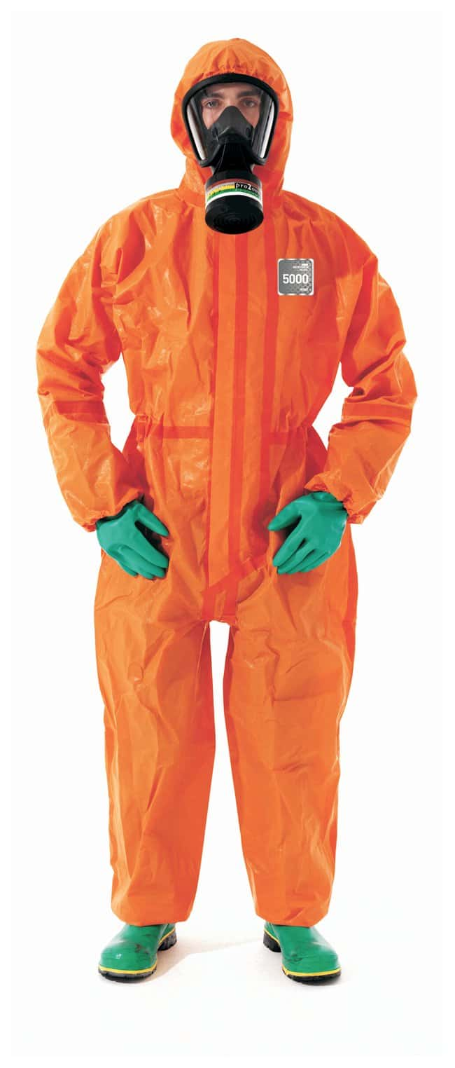 Ansell Alphatec MICROCHEM 68-5000 Orange Coveralls with Hood and Socks:Gloves,