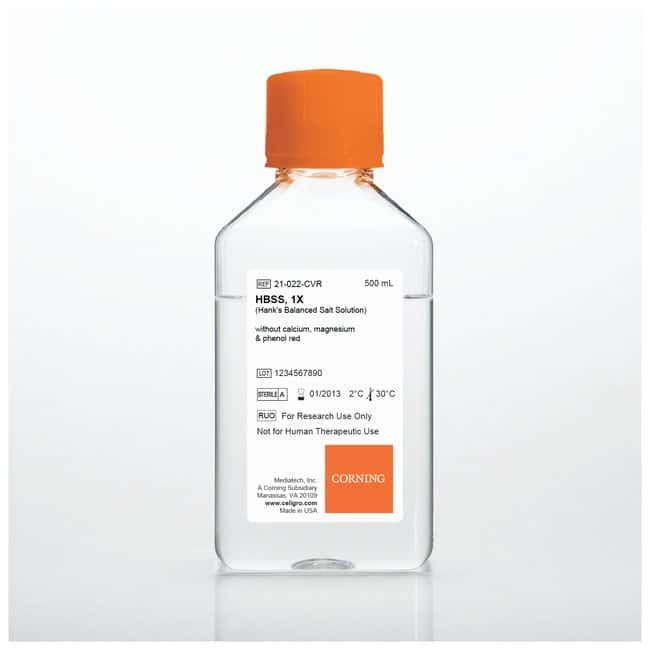 Corning™Hank's Balanced Salt Solutions 1X; Without calcium and magnesium and phenol red; 6 x 500mL Corning™Hank's Balanced Salt Solutions