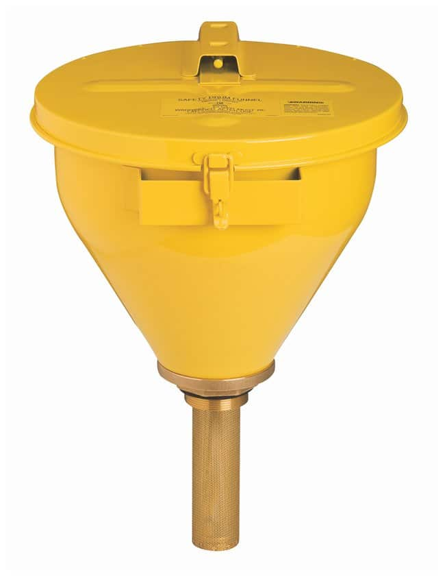 Justrite™Large Steel Drum Funnel With Self-Closing Cover Steel Funnel, 813mm flame arrester, yellow Justrite™Large Steel Drum Funnel With Self-Closing Cover