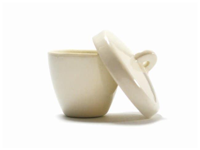 Eisco Porcelain Crucible with Lid, tall  Capacity: 50mL:Teaching Supplies