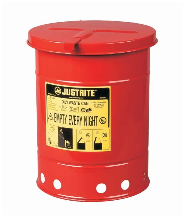 Justrite Galvanized-Steel Oily Waste Safety Cans  Hand-operated cover;
