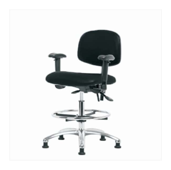Fisherbrand Medium Form ESD Chair, Chrome Frame, Vinyl Seat  with foot
