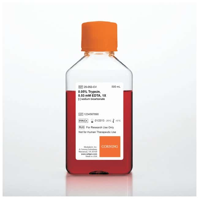 Corning™ 0.05% Trypsin/0.53mM EDTA in HBSS w/o Calcium, Magnesium or Sodium Bicarbonate 0.05% Trypsin/0.53mM EDTA in HBSS; w/o Ca, Mg/sodium bicarbonate; 6 x 500mL Corning™ 0.05% Trypsin/0.53mM EDTA in HBSS w/o Calcium, Magnesium or Sodium Bicarbonate