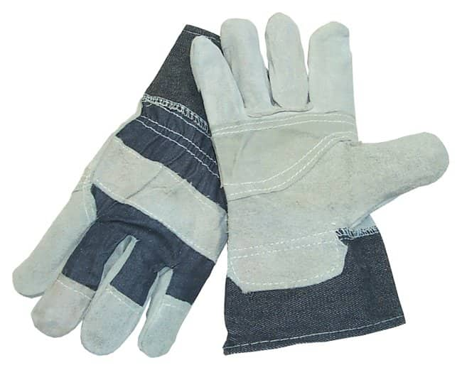 Fisher Scientific Safety Choice Economy Leather Palm Gloves Striped fabric